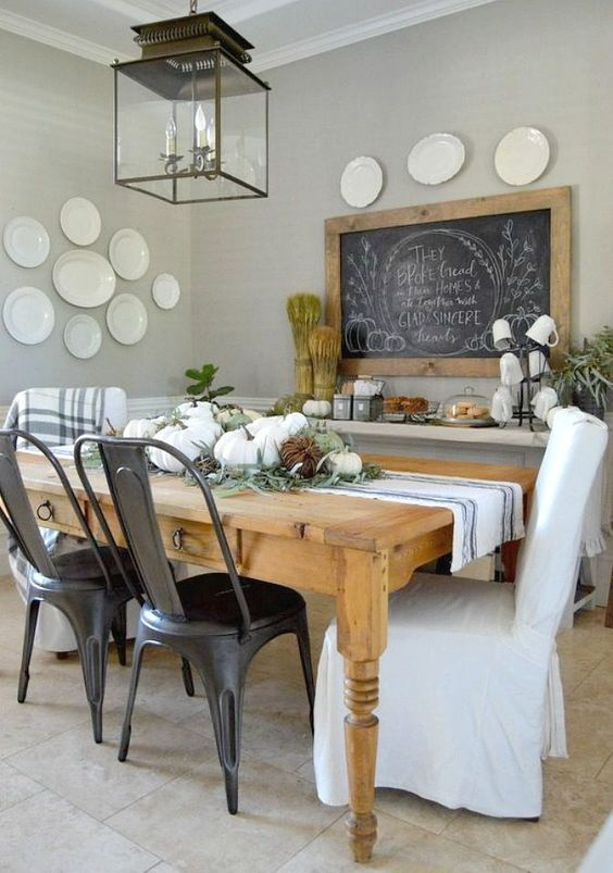 Home Remedies RX 2015 Fall Tour Dining Room Wall Color Is Bedford Gray Martha Stewart I Love The Big Chalkboard On