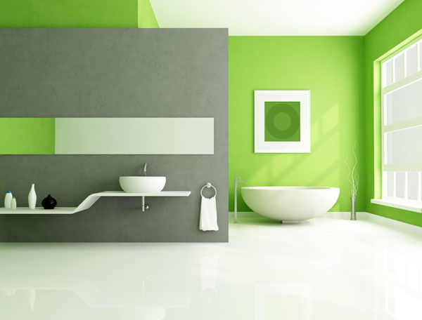 This Bathroom Paint Idea Is Hot And Exciting Using The Bright Red And Strong Blues To Green And Graybright
