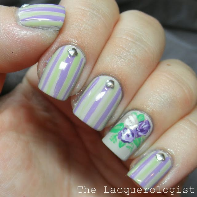 The Lacquerologist: Lavender Roses and Stripes: Wedding Guest Nails!