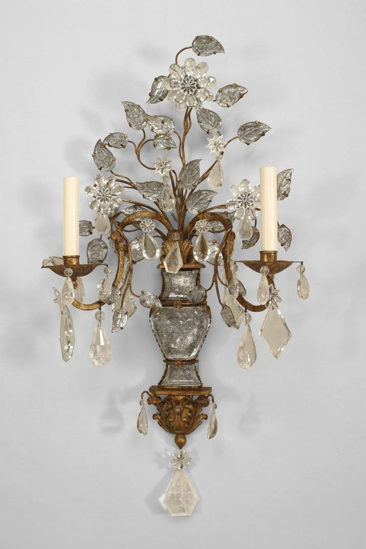 Art Deco French lighting sconces crystal