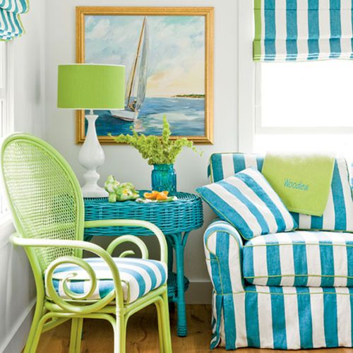 lime green + blue: my porch Just have to find the chair and paint it!