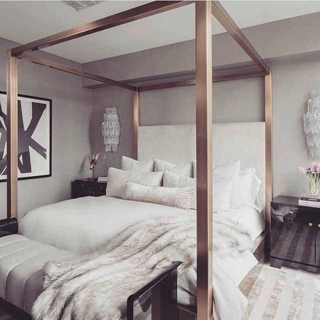 such a chic bedroom love the rose gold bed frame credit unknown