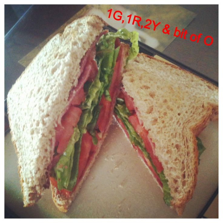 #21DAYFIX approved BLT! 1 green ( 4 slices of tomato and romaine lettuce), 1 red ( serving of low sodium turkey bacon) 2 yellow ( 2 slices of whole wheat toast) and a bit of orange ( 21 DAY FIX creamy herb dressing). Oh so delicious!