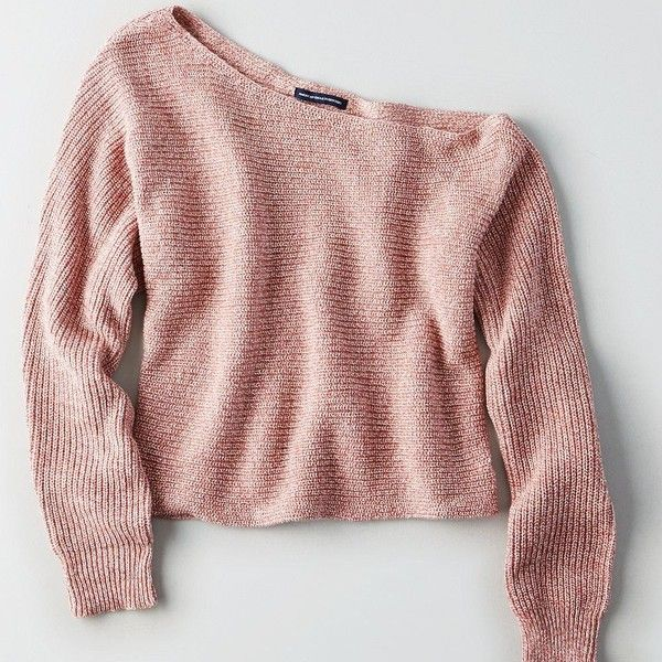 AE Slouchy Off-the-Shoulder Crop Sweater (£34) ❤ liked on Polyvore featuring tops, sweaters, red crop top, off the shoulder crop top, off shoulder tops, asymmetrical sweaters and off shoulder sweater