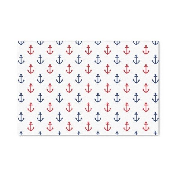 "White Red Blue Nautical Anchor Pattern 10"" X 15"" Tissue Paper ($2.12) ❤ liked on Polyvore featuring home, home decor, blue home accessories, blue home decor, nautical theme home decor, nautical home decor and nautical home accessories"