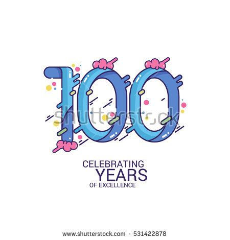 100 Years Anniversary Design, Blue Splash Colored Logo Celebration Isolated on White Background