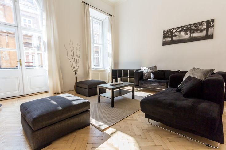 Black&White Living room, modern in classic Budapest downtown apartment furnished by www.towerassistance.com
