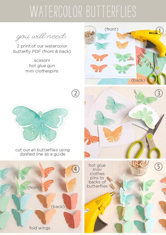DIY Watercolor Butterfly Decor ~ free printable