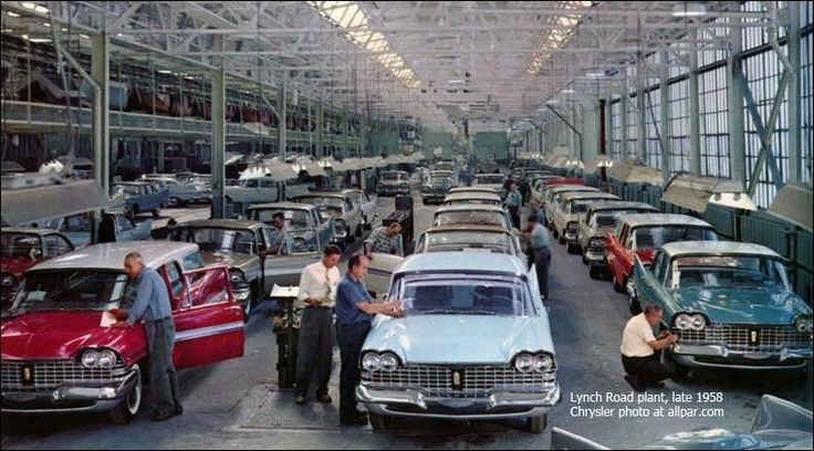 1959 Plymouths on the assembly line in late 1958. Ex