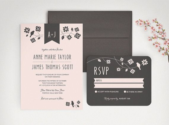 #Rustic #Chic #Wedding Invitation Set - blush pink by Lucy Loves Paper http://www.etsy.com/listing/190129666