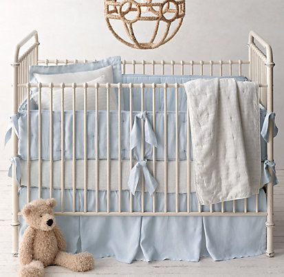 Washed Organic Linen Nursery Bedding Collection | Restoration Hardware Baby & Child--so sweet and simple for a boy