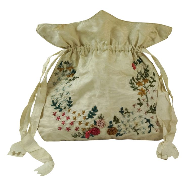 Antique English Regency Reticule, Workbag, Purse -  Silk Ribbon Work 1810 from Trinity Antiques at RubyLane.com: