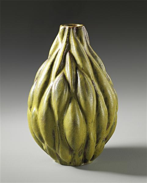 AXEL JOHANN SALTO  Large 'Seed pod' vase, 1949  Stoneware, Solfatara glaze.  Produced by Royal Copenhagen, Denmark. Crown and 'ROYAL COPENHAGEN DENMARK' stamp in green under the glaze with painted blue wave mark, incised in the body 'SALTO' and '1949'.  36.5 cm (14 3/8 in) high