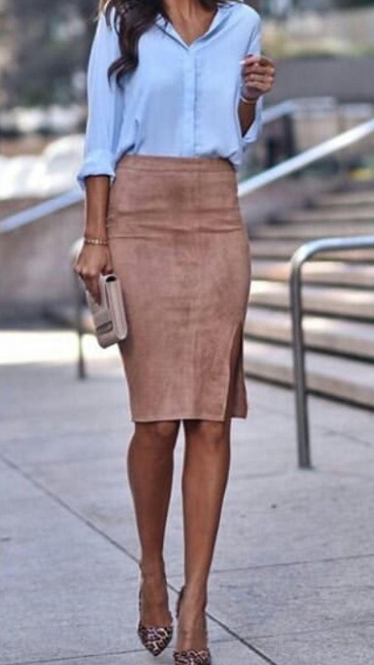 Casual style #OOTD #suede camel skirt blue button up shirt pumps clutch tan #sippnsunshinestyle #fallfashion