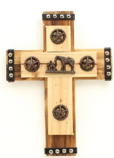 Western Decor Western Moments Layered Wood Western Cross with Praying Cowboy Concho and Star Conchos
