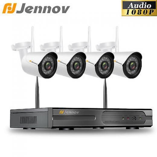 Jennov 1080p Hd Nvr Audio System 4ch Security Ip Camera Outdoor 36 Ir Light P2p Bullet Ip/network - Wireless Di-k4-a64wj20-v95-a China Default 3.6mm (6mm,8mm,12mm For Optional) Not Include 36leds,day Night