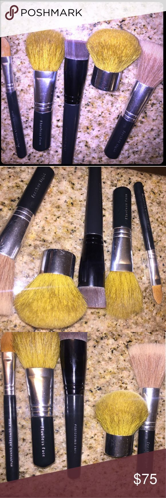 Set of 5 BARE ESSENTIALS Makeup Brushes (All or 1) EACH BRUSH RETAILS BETWEEN $26 & $28! Set of 5 make up brushes by bare essentials. I briefly used this product but switched after a week. Brushes were used & have been stored in my makeup case until now. I just washed them all. If you only need one please feel free to message me to create a separate listing for you. If you'd like the set you can proceed with purchase as normal. Bare Escentuals Makeup Brushes & Tools