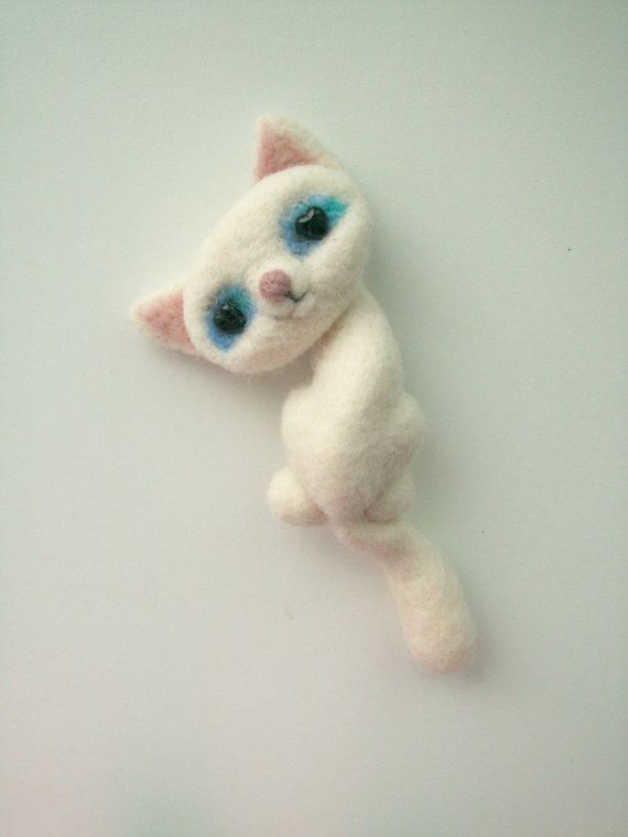 Needle Felted White Cat Pin Brooch With Beads in Its by ElideArt, $17.00