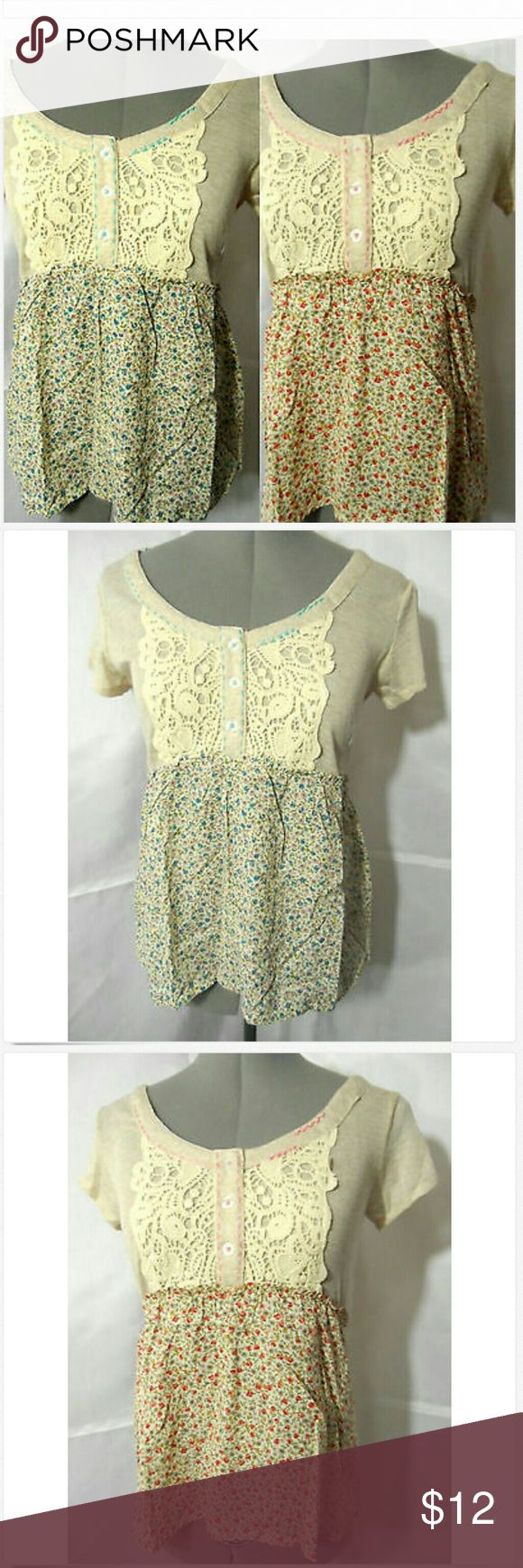 "Nwt ANINA Western Babydoll Tops Crochet & Floral Individual monitors may display slightly different colors and hues...   NEW WITH TAGS-   ANINA Crochet Lace top   TAG SIZE: S, M or L junior BUST: S- 34"" M- 36"" L-38""  LENGTH: all are about 23-24"" from the top of the shoulder down   Crochet lace trim applique! Scoop neck Fantastic wide embroidered stitching Smocked empire waist Floral pattern Short ruched cap sleeves Red or Blue floral in color with beige top NEW NEW NEW! Anina Tops Blouses"