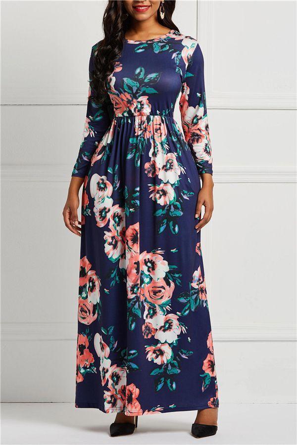 c40c5dbc470 Pocket Three-Quarter Sleeve Round Neck Floral Women s Maxi Dress in ...