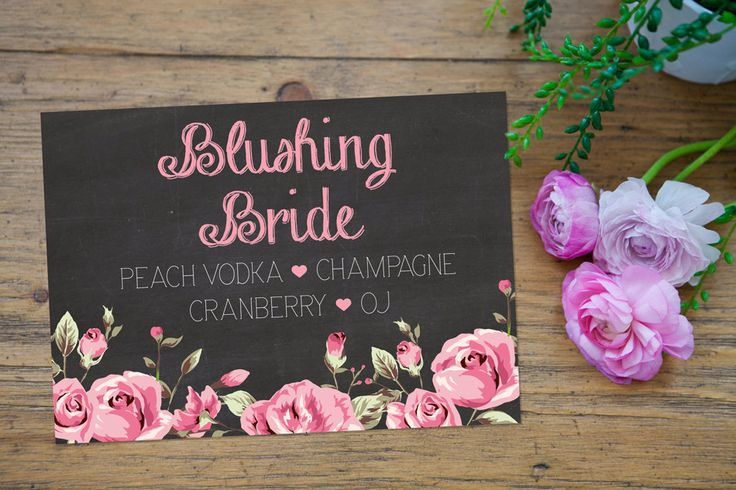 A personal favorite from my Etsy shop https://www.etsy.com/listing/242352613/blushing-bride-signature-drink-sign