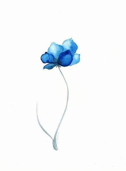 lovely watercolor blue flower