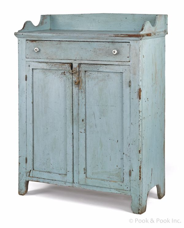 """Pennsylvania painted pine jelly cupboard, 19th c., retaining a robin's egg blue surface, 52 1/2"""" h., 38"""" w."""