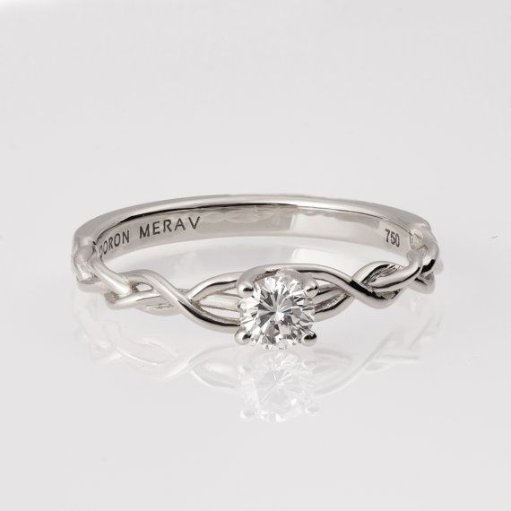 Braided Engagement Ring White Gold and Diamond by doronmerav