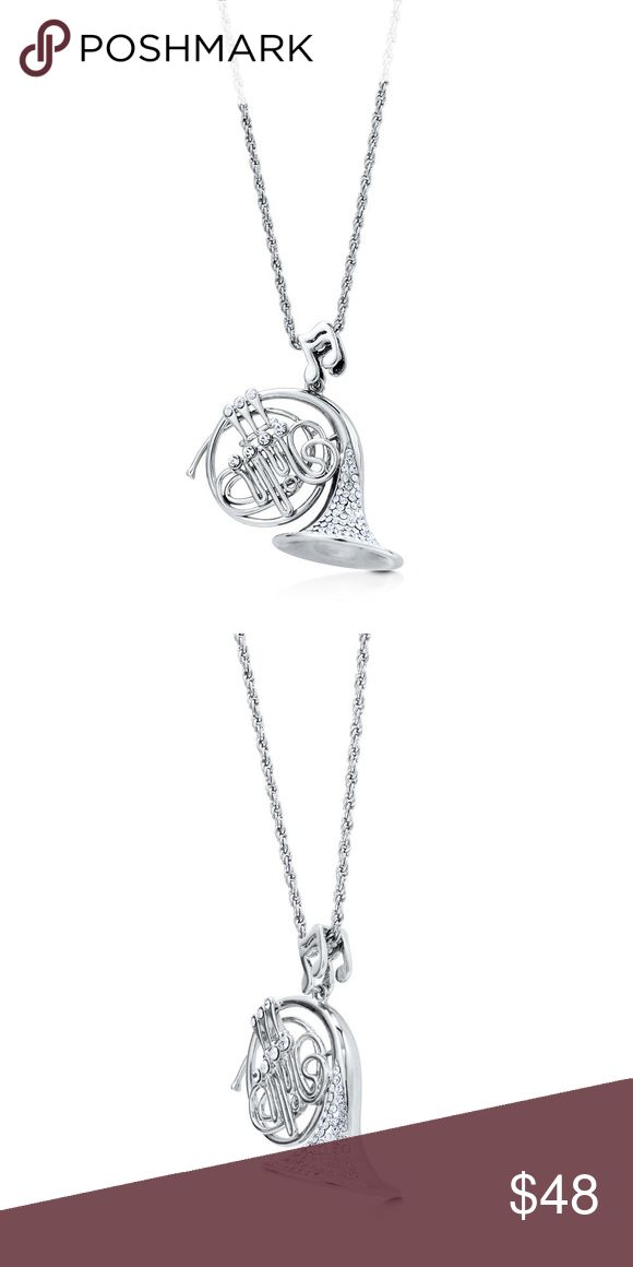 NWT Silver-Tone French Horn Necklace Pendant 💥 HOW UNIQUE FOR A MUSICIAN - INSTRUCTOR etc... BRAND NEW! This french horn pendant necklace is made of rhodium plated base metal. Set with rhinestone. Pendant measures 2.1 inch in length, 2 inch in width. Chain measures 26 inch in length. Lobster claw clasp. GIFT BOX AVAILABLE FOR ADDITIONAL $ Accessories Jewelry