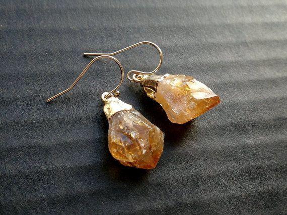 Citrine Earrings Raw Citrine Point Earrings by SinusFinnicus
