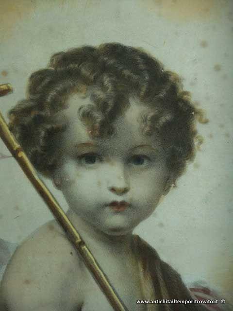 Oggettistica d`epoca - Stampe e dipinti - Litografia acquerellata di San Giovannino San Giovannino: litografia colorata a tempera - Immagine n°3