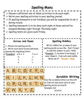 Elementary Spelling Homework Menu