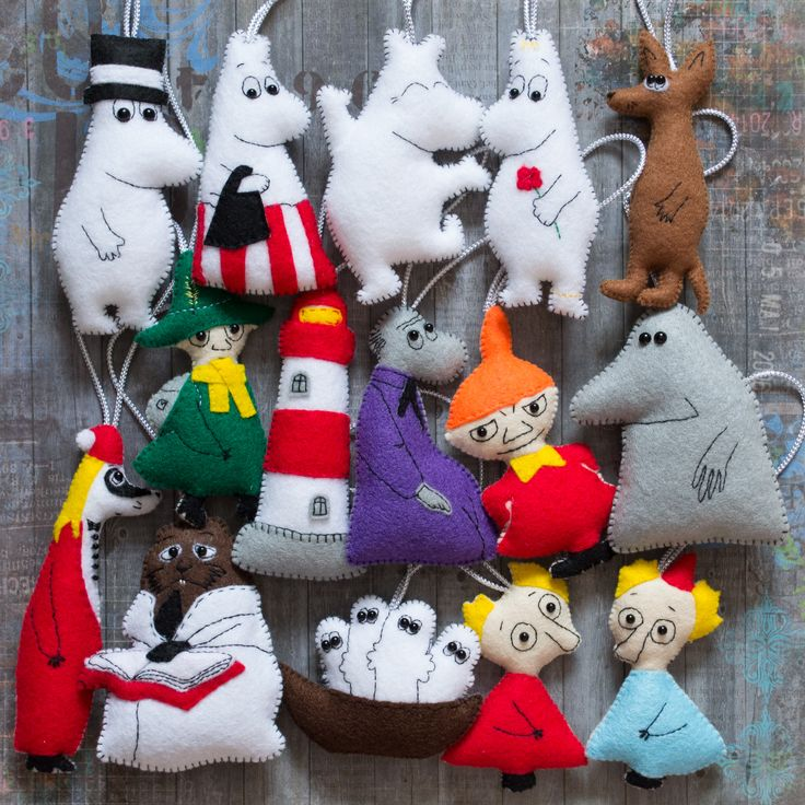 felt moomins Christmas decorations