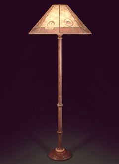 F116 Hand Crafted Wooden Floor Lamp, Southwestern Lamp Shade