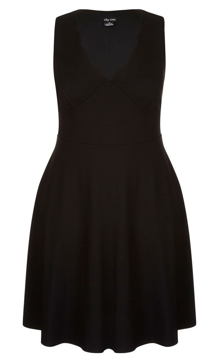 The LBD gets an update with the Sweet Scallop Dress.    Key Features Include:    - V neckline with scalloped edge  - Sleeveless cut  - Shaped waistband  - Soft A-line skirt  - Stretch ponte fabrication  - Lined bodice