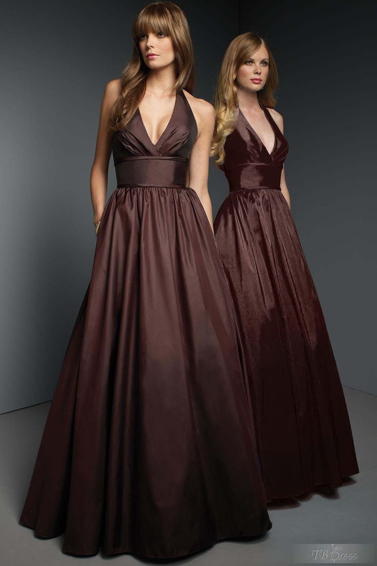 Gentle A-Line  Floor-Length V-Neck Bridesmaid Dress/ love this in black for bridesmaids