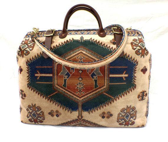 Carpet Bag Weekender / Overnight / Carry on / Travel Bag. Cream, Navy & Tan Kazak Pattern by LondonJacks