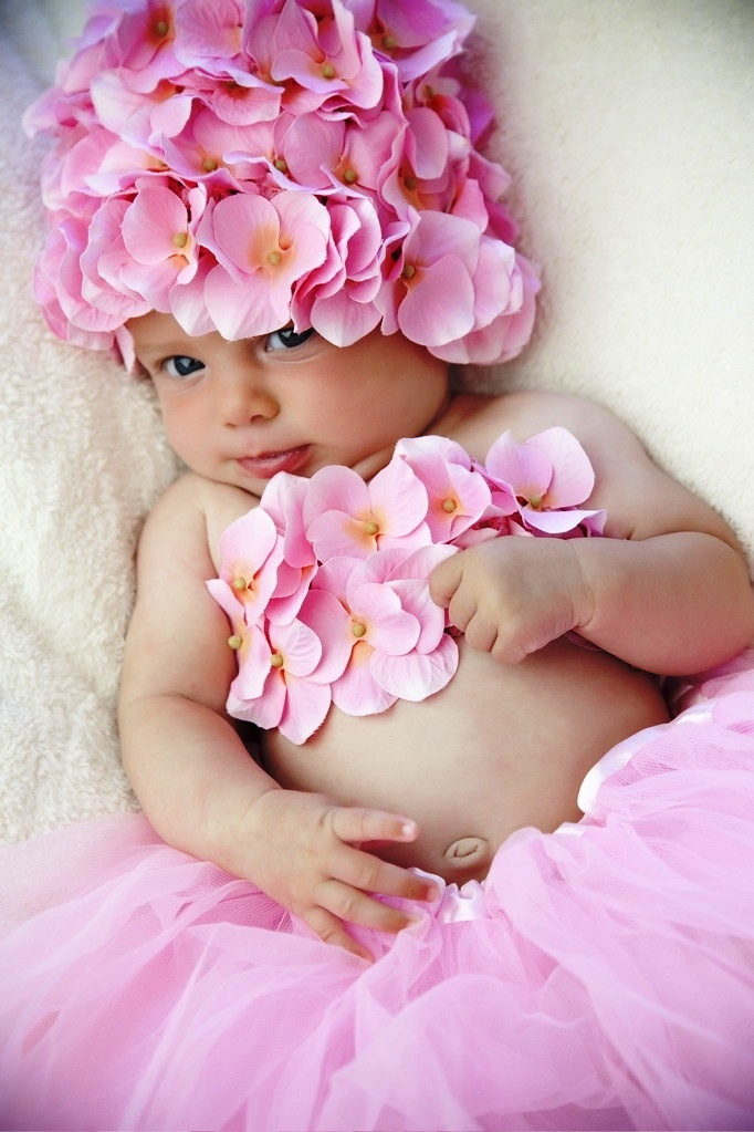 Baby girl pink tulle and flower crown corona ❀Flower ❀ Girls❀