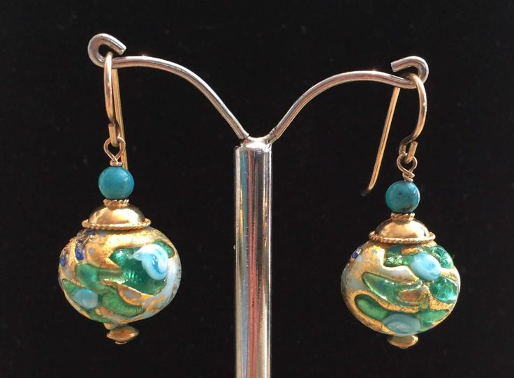 Murano Glass earrings with Aqua Fern pattern by MuranoBling on Etsy https://www.etsy.com/au/listing/520811003/murano-glass-earrings-with-aqua-fern