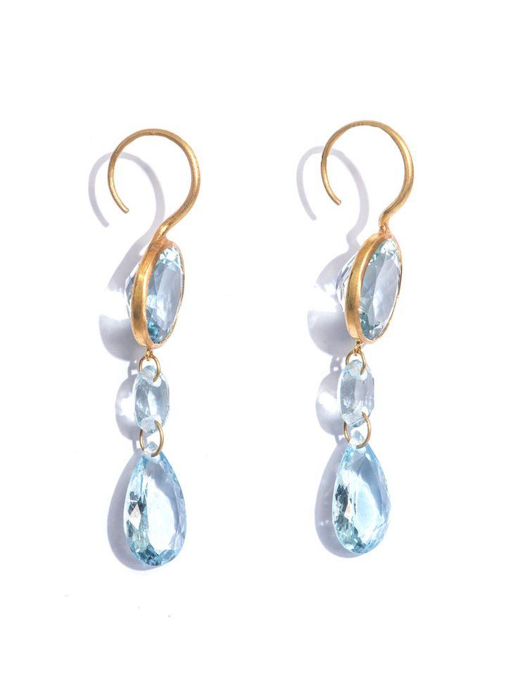 Marie-Helene De Taillac Aquamarine and yellow gold earrings -- love aquamarines