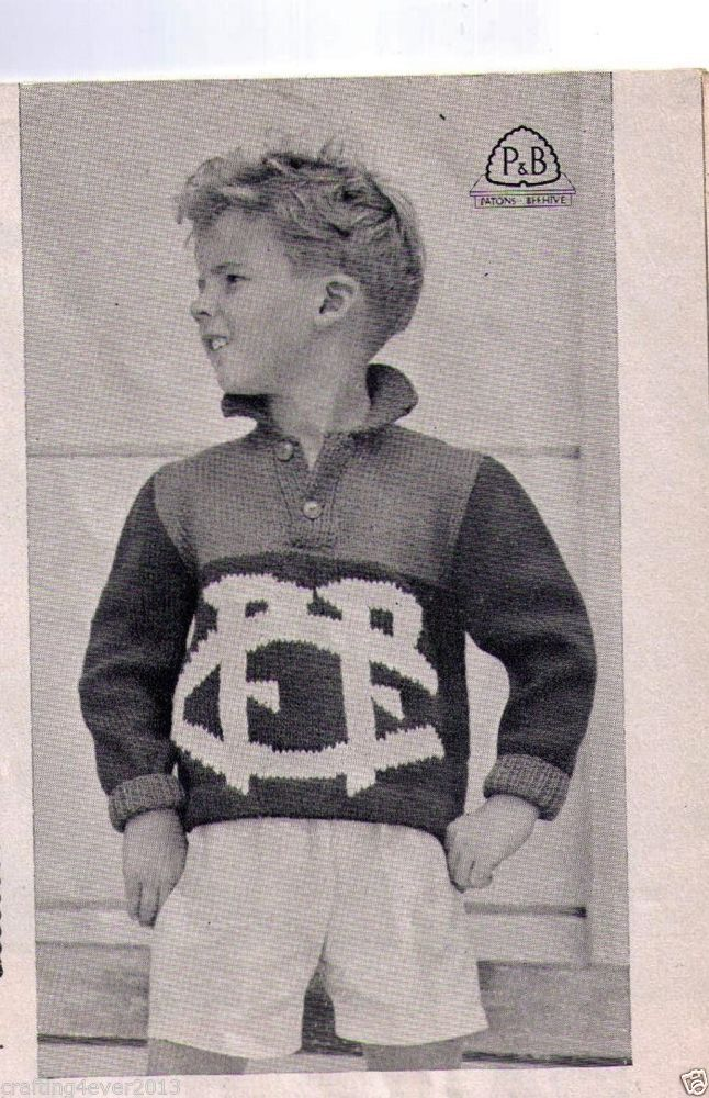 VINTAGE AFL FOOTBALL FITZROY LIONS GUERNSEY JUMPER 60-75CM 8PLY KNITTING PATTERN