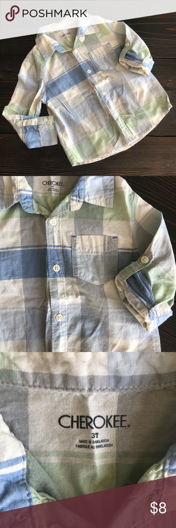 Cherokee Boys Blue and Green Plaid Button Down Soft and stylish plaid button down in pastel blues and greens for your little boy! They have the option to roll the sleeves with a button tab to keep them in place, or wear them down. 100% cotton, machine wash warm, tumble dry low, warm iron if needed. This is a size 3T from Cherokee brand at Target. Cherokee Shirts & Tops Button Down Shirts