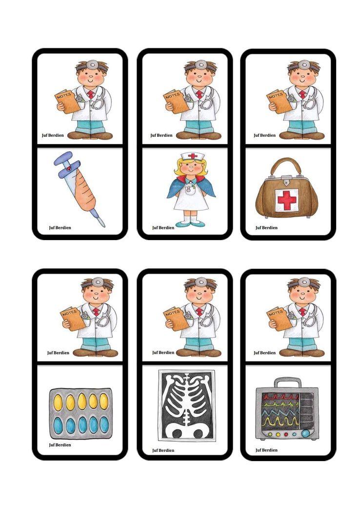 Juf Berdien Domino ziek zijn dokter kleuters klas Preschool