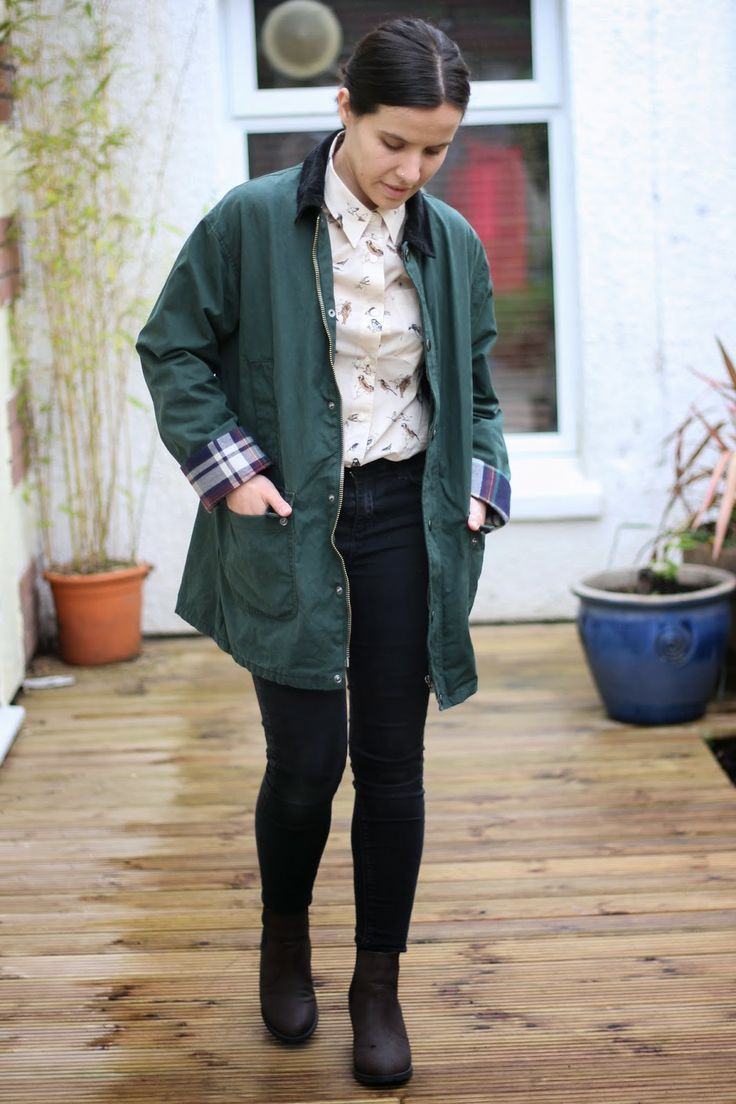 For those colder spring days - BDG Jacket with a cute bird print Barbour shirt and Topshop jeans and Chelsea boots