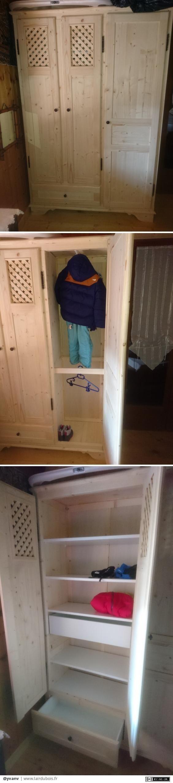 """Petite armoire par yvanv - Petite armoire faite dans l'urgence pour meubler une chambre à donner. A noter que la profondeur réduite m'a contraint à faire la penderie """"de face""""... Pris par le temps, j'ai acheté 2 tiroirs chez Ikéa......"""