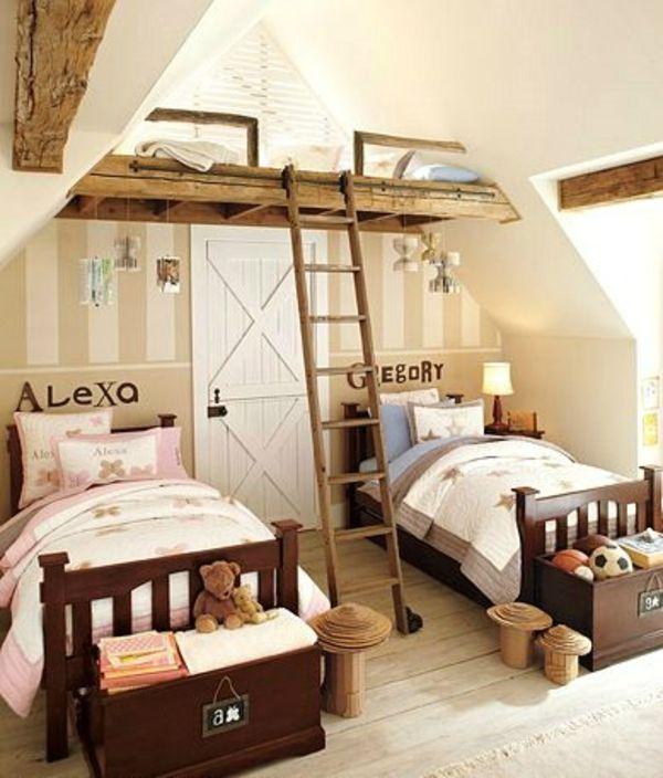 Kinderzimmer komplett gestalten – wenn Junge und Mädchen einen Raum teilen müssen - kinderzimmer komplett rustikal mit hohem gästebett babyroom kidsroom
