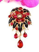 1930-1940 A. PHILIPPE CROWN TRIFARI FUCHSIA drahokamu viset květinové šaty CLIP