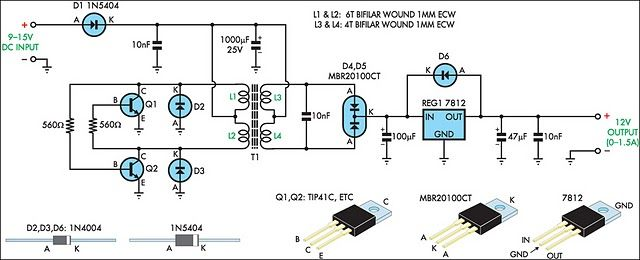 12V Regulated Inverter Supply Circuit diagram   Electrical Info PICS