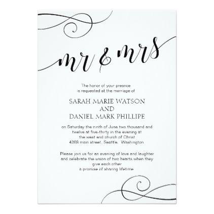 Elegant Script Mr & Mrs Wedding Typography Invite - wedding invitations diy cyo special idea personalize card