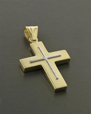 Σταυρος κιτρινο και λευκοχρυσο Κ14, κοσμηματα, χειροποιητα κοσμηματα - Κοσμημα Ελευθεριου